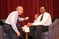 photo of James Autry and Clifton Taulbert at lecture