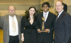 photo of Charles Knerr with Drake students Katharine Willey and Siva Kasinathan