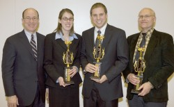 photo of David Walker, Mark Weaver and College of Wooster students Katharine McCarthy and Drew Glass