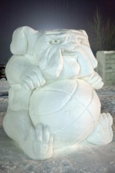 photo of snow sculpture of Spike mascot