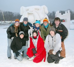 photo of Drake team with snow sculpture of Spike