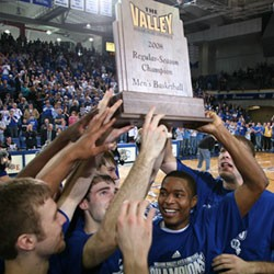 Photo of Drake players with MVC Championship trophy