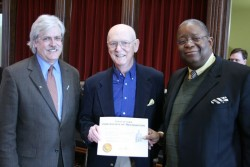 photo of Sen. Jack Hatch, LA'72, GR'73, R. Dean Wright and Rep. Wayne Ford, ED'74,  at the State Cap