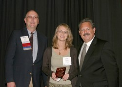 photo of Emily Nufer (middle), 2007-08 IPA President Jay Currie, and Tom Temple, IPA's executive vic