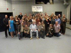 Bill and Linda Coleman (middle front) pose with a group of alumni who attended the theatre reunion i
