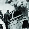 Freedom Riders Near Burning Bus