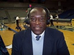 Pulliam at the broadcast table in Drake's Knapp Center, 2009.