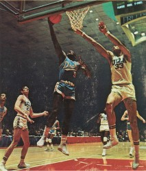 Dolph Pulliam lays the ball up against Lew Alcindor, now known as Kareem Abdul-Jabbar.