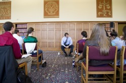 Balog speaks with environmental science students in the Cowles Library Reading Room.