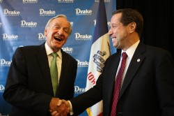 U.S. Sen. Tom Harkin, left, and Drake University President David Maxwell.