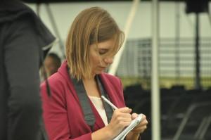 Lillian Schrock,a news-Internet major, takes notes.