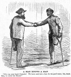 """A Man Knows A Man"" (Harper's Weekly, 22 April 1865: p. 256) Courtesy HarpWeek, LLC."