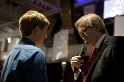 Garrison Keillor during the Q&A portion of his Oct. 2011 lecture at Drake University.