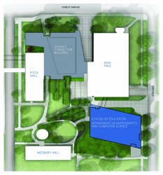 Proposed footprint of the STEM@DRAKE complex. (Not pictured: Harvey Ingham and Cline halls, to the west of the frame, would also be connected.)