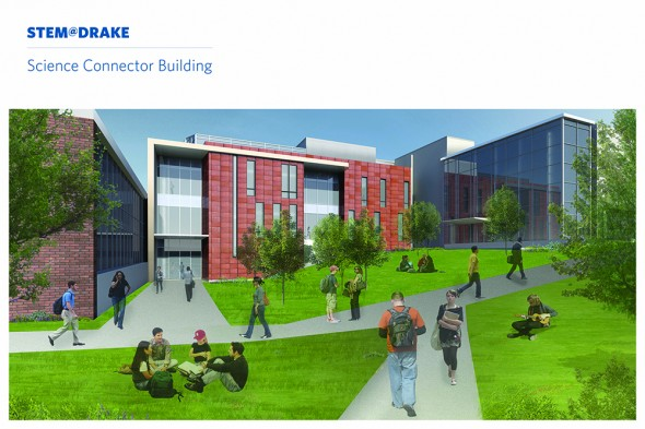 Proposed design of a Science Connector building that would link Fitch and Olin halls as part of the new six-building STEM@DRAKE complex.