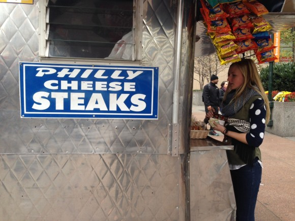 Drake Magazine's Melissa Studach orders a Philly delicacy.