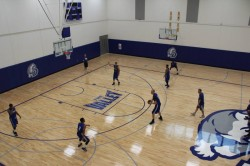Men's Basketball holds their first practice in the Shivers Basketball Practice Facility.