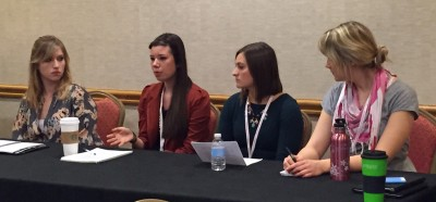 Courtney Fishman, second from left, speaks on a panel about covering campus sexual assault.