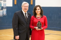 Governor Terry Branstad, left, with Iowa Teacher of the Year Clemencia Spizzirri.