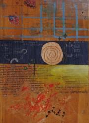 "Grace Carroll ""10.27.14"", 2014 mixed media on found panel 91/2"" x 43 1/2"""