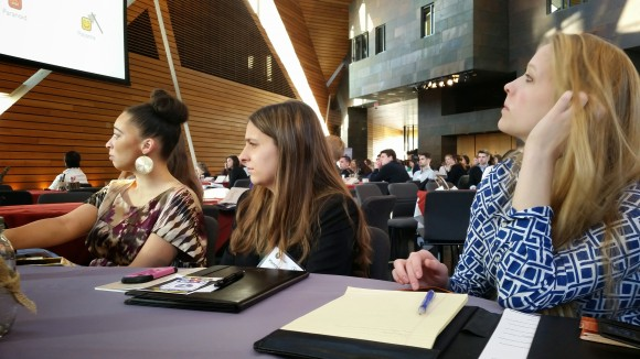 (Left to Right are ad majors Tess Montgomery, Hannah Powers, and Lauren Grabau who are listening to the morning keynote given by Scott Jenson of Google.)