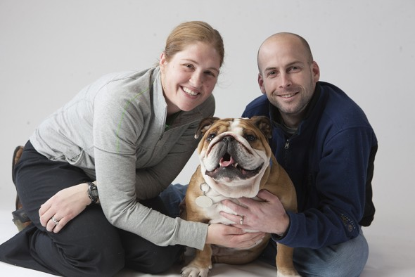 Erin Bell, left, has been contracted as Drake University's live mascot director. She and her husband Kevin, right, were owners of Drake's beloved late live mascot Porterhouse.
