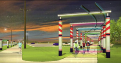 One recommendation made by Drake Management 160 students for Perry's revitalization efforts includes regarding the Raccoon River Valley Trail as a main attraction, considering possibilities like this rendering of an art installation at the Waukee trailhead (courtesy www.beeherald.com). http://www.beeherald.com/news/art-eyed-jefferson-trail