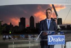 President Martin speaks to Drake alumni in downtown Des Moines.