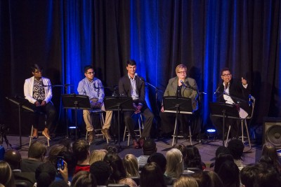 "The panel for Michel Martin: Going There ""Youth Voting Myths and Facts"" as part of the series NPR Presents tour at Drake University in Des Moines, Iowa. 11/10/2015 Photo by John Pemble"