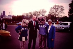 Patricia and Richard Noyce with two early Spike mascots.