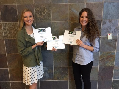 Melissa Studach, left, and Kendall Wenaas collected three Pinnacle awards for Drake Magazine.