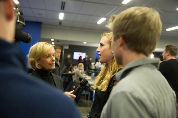 CNN's Randi Kaye interviews Drake University students during the mock caucus.