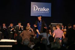 President Martin's family, and Drake University students, surprised him with a flash mob after the benediction at the end of the inauguration.