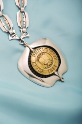 "Presidential medallion to be worn by Drake University's 13th president, Earl F. ""Marty"" Martin."