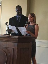Elizabeth Bald, P4, recipient of the Jerry M. Karbeling Leadership Award along with the University of Iowa awardee, Robert Nichols.