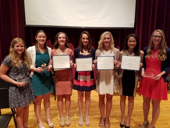 left to right: Stephanie Boylan, Emily Larson, Samantha Scheel, Amber Burns, Scarlett Howerter, Kimberly Dao, Becca Mahnesmith (David Book not pictured)