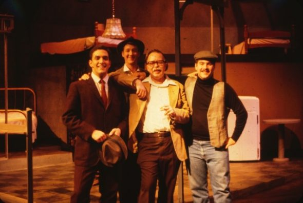 """Doc"" Coleman with cast members from ""Death of a Salesman,"" 1980. From left to right, Rick Carter, FA'82, Robert Shook, FA'83, William S.E.""Doc"" Coleman, Steve Bannos, FA'82."