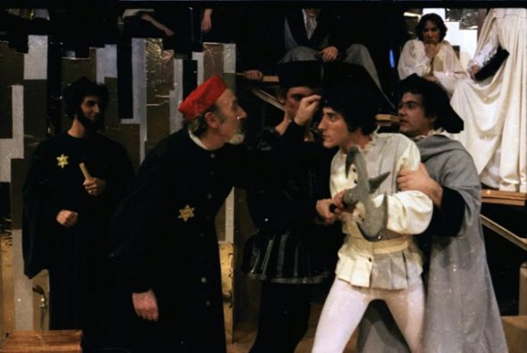 "Guest artist Sol Frieder with Drake alumni Daniel Neiden and Steve Bannos in ""The Merchant of Venice"" by William Shakespeare. Directed by William S.E. Coleman, Music by Linda Robbins Coleman, 1979."
