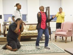 "Wanda Everage, center, rehearses for Pyramid Theater Company's production of ""A Raisin in the Sun,"" which opens July 8 at Drake University."