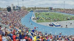 A crowd photo from the Drake Relays