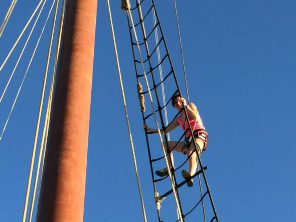 A Drake University student aboard the Liberty Clipper during the 2015 Leadership at Sea course.