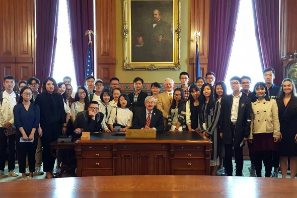 Terry Branstad greets 29 Chinese law students from the Southwest University of Political Science & Law as part of a week-long visit to Drake Law School in September 2016.