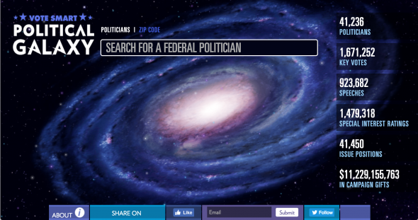 "A screenshot of Vote Smart's ""Political Galaxy"" search tool, available at VoteSmart.org."