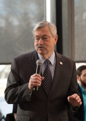 Branstad speaks at an event at Drake Law School in early 2016.