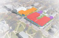 A conceptual rendering shows a hotel (orange), apartments (red) and row houses (purple) as part of a planned development by Nelson Construction & Development along University Avenue.