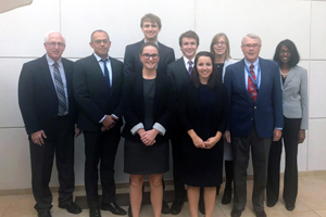 Students and judges in C. Edwin Moore Competition